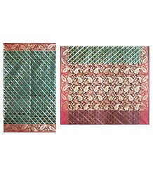 Cyan Green Dhakai Jamdani  Saree with Border and Pallu