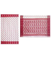 Red Boota All-Over on Dhakai Jamdani Saree with Border and Pallu