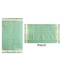 Green Cotton Tangail Saree with Embroidered Boota