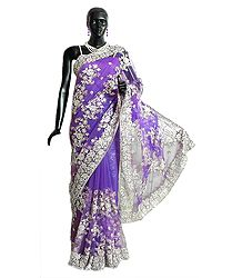 Dark Mauve Net Saree with Embroidered  Pallu and Border