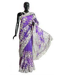 Dark Mauve Net Saree with Embroidered  Pallu and Border