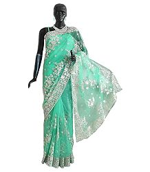 Green Net Saree