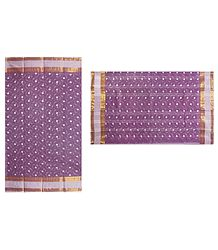 Bengal Cotton Mauve Tangail Saree with Embroidery