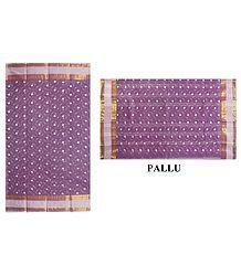 Bengal Cotton Mauve Tangail Saree with Embroidery