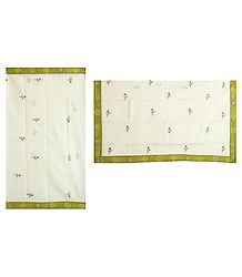 Green Embroidery on Off-White South Cotton Saree with Hand Painted Border