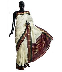 Off-White Self Check Cotton Gadwal Saree with Maroon and Green with Golden Zari Border and Pallu from Andhra Pradesh