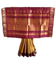 Gadwal Silk Saree with Heavy Zari Border and Pallu
