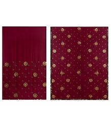 Maroon Georgette Saree with Embroidered Flower All-Over