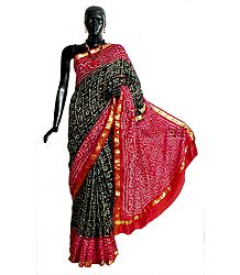 Tie and Dye Black Gharchola Silk Saree with Zari Check, Red Border and Pallu from Gujarat
