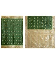 Dark Green Ghicha Silk Sari with Beige Border and Pallu