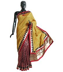 Yellow and Maroon Ghicha Silk Half N Half Saree with Golden Zari Design