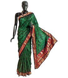 Black Print on Green Ghicha Silk Saree with Zari Border and Pallu