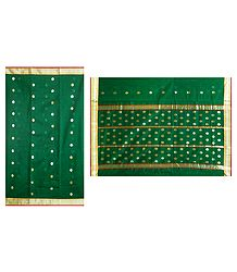 All-Over Golden Zari Boota on Green Chanderi Saree with Zari Border and Pallu