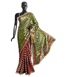 Zari Design on Maroon and Green Cotton Silk Saree with Border and Pallu