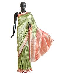 Lime Green with Light Burgundy Art Silk Saree with Woven Floral Design All-Over