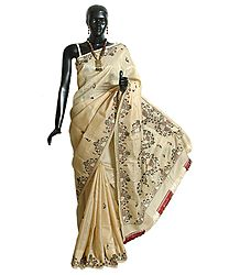 Hand Embroidered Tussar Saree with Border and Anchal