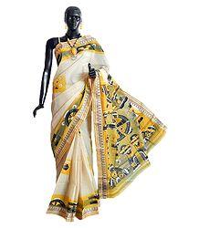 Hand Painted Off-White Tangail Saree with Border and Pallu