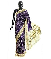 Purple Pochampally Silk Saree with Off-White Ikat Design All-Over, Border and Pallu