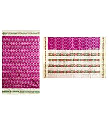 Ikkat Design on Dark Magenta Silk Saree with Off-White Border and Pallu