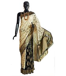 All-Over Weaved Design Beige Jute Saree from Banaras with Black and Golden Anchal