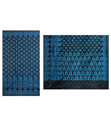 Black with Blue Jute Cotton Saree with Border and Pallu