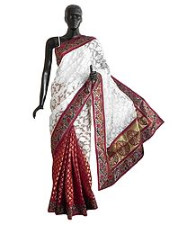 Maroon and White Jute Cotton Silk Saree with Zari Border and Pallu