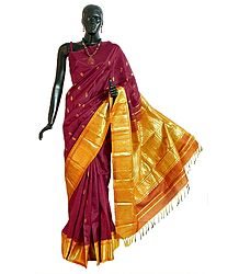 Maroon Kanjivaram Silk Saree with All-Over Zari Boota and One Sided Zari Border with Yellow Pallu from Tamilnadu