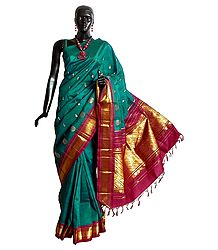Midnight Green Kanchipuram Silk Saree with All-Over Zari Boota and One Sided Zari Border with Maroon Pallu from Tamilnadu