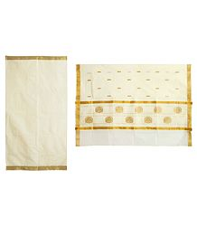 Ivory Color Kasavu Saree with Golden Zari Border and Pallu