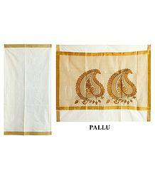 Buy Kasavu Saree with Golden Zari Border and Pallu