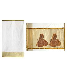 Off-White Kasavu Saree with Zari Border and Embroidered Bal Gopal Pallu