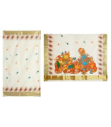 Off-White Kasavu Saree with Zari Border and Painted Radha Krishna on Pallu