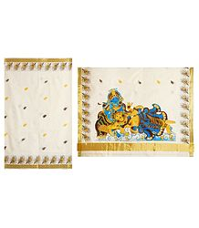 Radha Krishna Painting on Off-White Kasavu Saree with Zari Border and Pallu