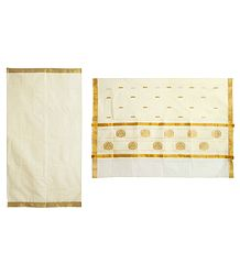 Off-White Kasavu Saree with Golden Zari Border and Pallu