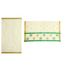 Ivory Kasavu Saree with Golden Zari Border and Pallu