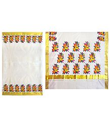 Hand Painted Off-White Kasavu Saree with Zari Border and Pallu