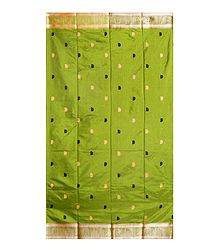 Olive Green Katan Saree with Peach and Black Weaved Design