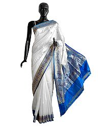 Banarasi White koriyal Katan Silk Saree with All-Over Zari Boota, Blue Border and Gorgeous Pallu