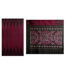 Ikkat Design on Dark Red Cotton Saree