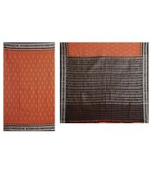 Buy Ikkat Design on Rust Color Cotton Saree