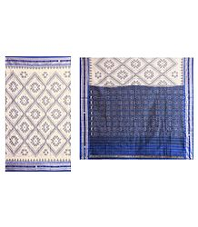 Ikkat Design on Ivory Color Cotton Saree