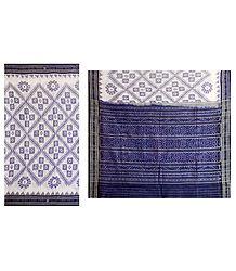 White Katki Cotton Saree with Ikkat Design