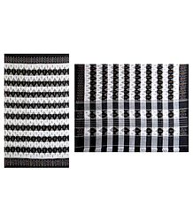 Black and White Cotton Saree with Ikkat Design