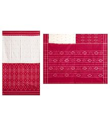 Ikkat Design on Off-White and Red Cotton Saree with Border and Pallu