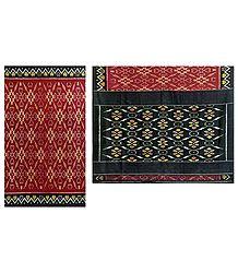 Ikkat Design on Maroon Cotton Saree with Black Border and Pallu