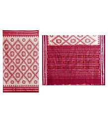 Red Ikkat Design on White Cotton Saree