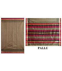 Bagh Print on Dark Khaki Chanderi Saree