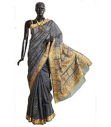 Dark Grey Kosha Tussar Silk Saree with Baluchari Design Border and Pallu with All-Over Boota