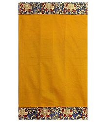 Yellow Cotton Silk Saree with Kalamkari Border