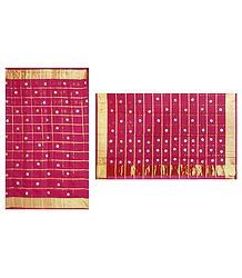 Red Cotton Silk Kota Saree with Zari Applique
